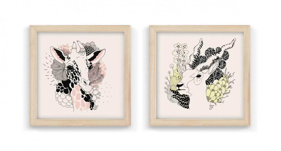 Laura-Riolfi---antilope-2-y-jirafa-2-enmarcados